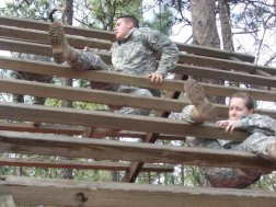 Cadets on obstacle course