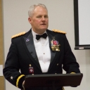Brigadier General Evans (class of 1988) speaks at the Dining In