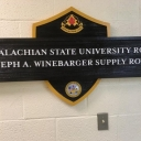 sign for the ROTC supply room dedicated to Joe Winbarger