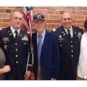 Col. Ashley Worboys, second from left, poses with wife, MaryDale Morgan Worboys; father, James Worboys; Col. Tim Sellers; and son, Hampton Worboys, after his promotion ceremony to colonel in the U.S. Army.